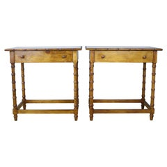Pair of Antique Faux Bamboo Side Tables