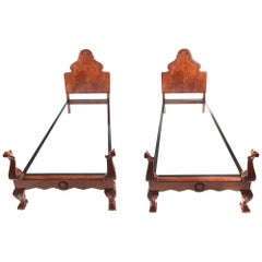 Pair of Antique Fine Quality Carved Burr Walnut Single Beds, circa 1920