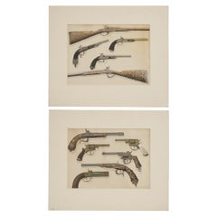 Pair of Antique Firearms, Guns, Pistols and Revolvers and Rifles Prints