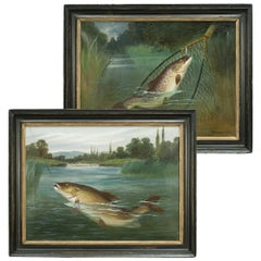 Pair of Antique Fishing Oil Paintings by A. Roland Knight