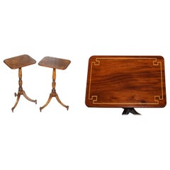 Pair of Antique Flamed Walnut & Inlaid Regency Style Tripod Side End Lamp Tables