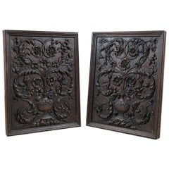 Pair of Antique Floral Carved Oak Panels, 20th Century