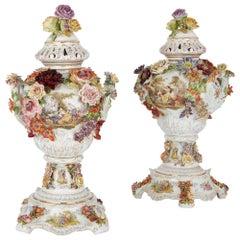 Pair of Antique Floral Dresden Porcelain Vases