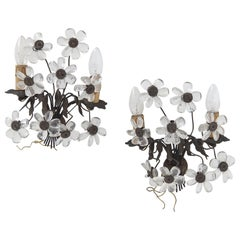 Pair of Antique Floral Sconces in Brass and Crystal Italy 1800