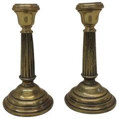 Pair of Antique Fluted Brass Candlesticks