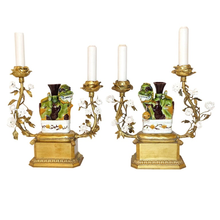 Pair of Antique Foo Dog Candelabras