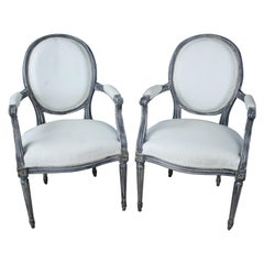 Pair of Antique French Armchairs, Newly Painted