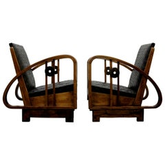 Pair of Antique French Art Deco Bentwood and Leather Lounge Chairs