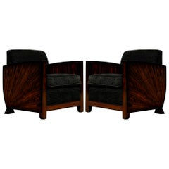 Pair of Antique French Art Deco Club Chairs