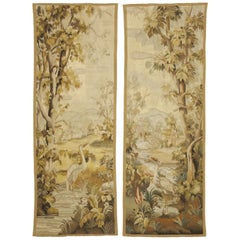 Pair of Antique French Aubusson Flemish Tapestries with Verdure Landscape Scene