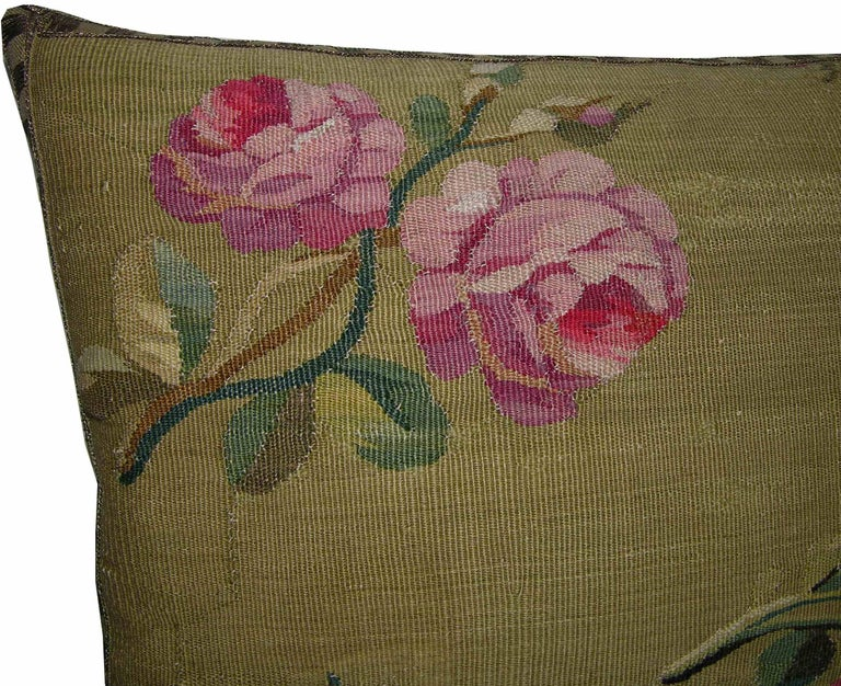 European Pair of Antique French Aubusson Pillows, circa 1860 1758p 1759p For Sale