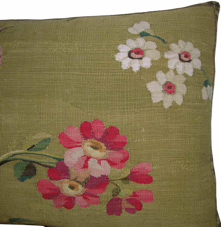 Pair of Antique French Aubusson Pillows, circa 1860 1758p 1759p In Good Condition For Sale In Los Angeles, CA
