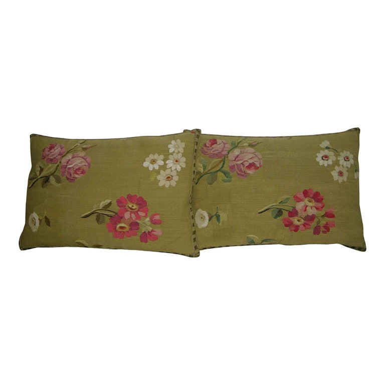 Pair of Antique French Aubusson Pillows, circa 1860 1758p 1759p For Sale
