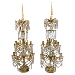 Pair of Antique French Baccarat Crystal and Gold Bronze Girondolles, circa 1880