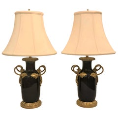 Pair of Antique French Blue Bronze Mounted Lamps