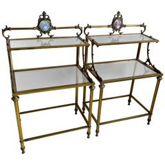 Pair of Antique French Brass Bedside Side Tables