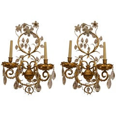 Pair of Antique French Bronze and Crystal Sconces