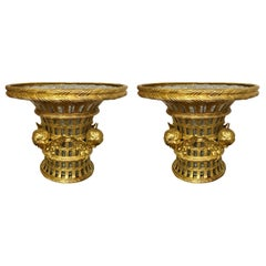 Pair of Antique French Bronze D'ore and Crystal Cachepots