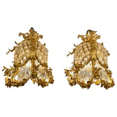 Pair of Antique French Bronze Doré Baccarat Crystal Empress Eugenie Chandeliers
