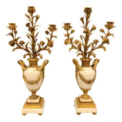 Pair of Antique French Bronze D'ore Carrara Marble Candelabra