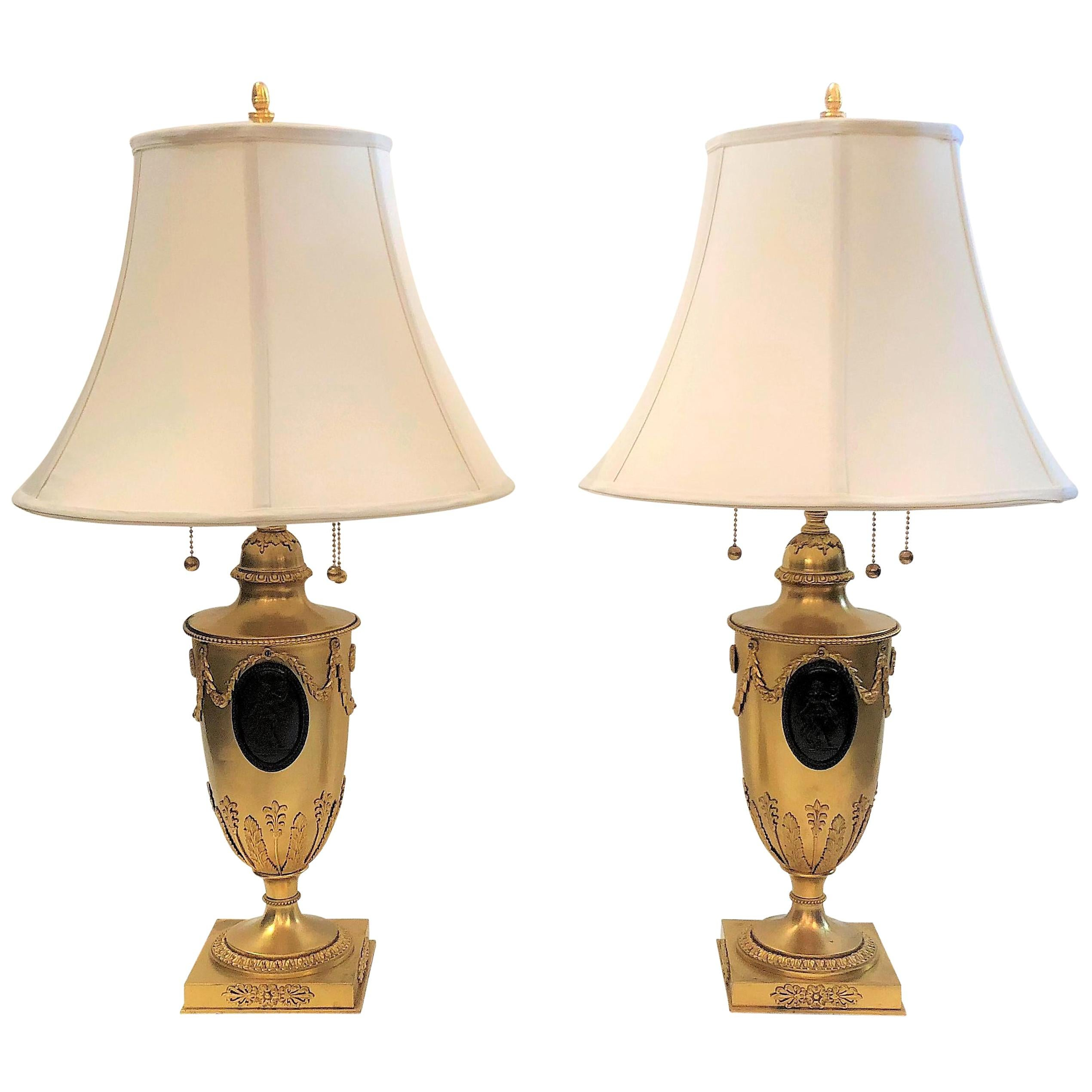 Pair of Antique French Bronze Dore Classical Urns Converted to Lamps