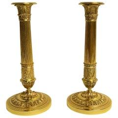 Pair of Antique French Bronze D'ore Restauration Candlesticks
