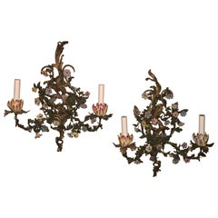 Pair of Antique French Bronze Doré Sconces with Dresden Flowers