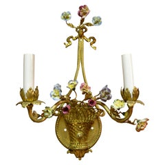 Pair of Antique French Bronze Doré Sconces with Porcelain Flowers