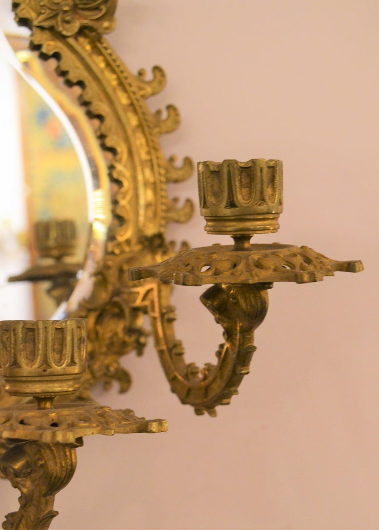 Pair of Antique French Bronze Mirrored Wall Sconces In Good Condition For Sale In New Orleans, LA
