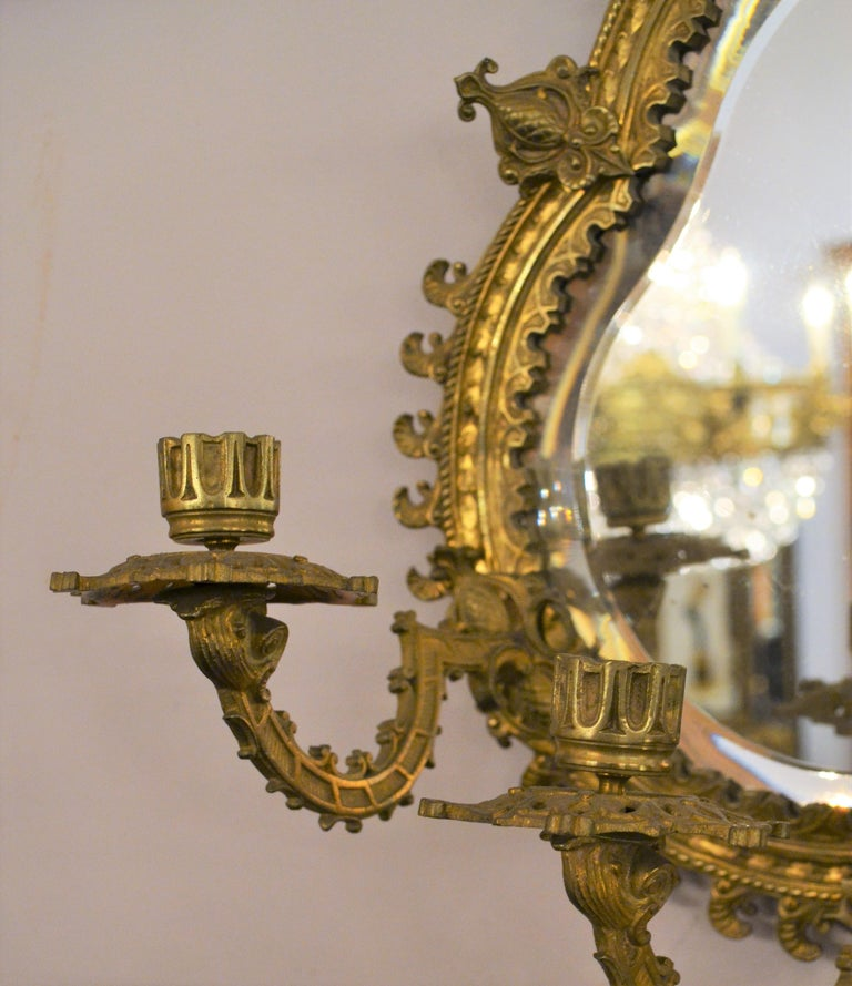 19th Century Pair of Antique French Bronze Mirrored Wall Sconces For Sale