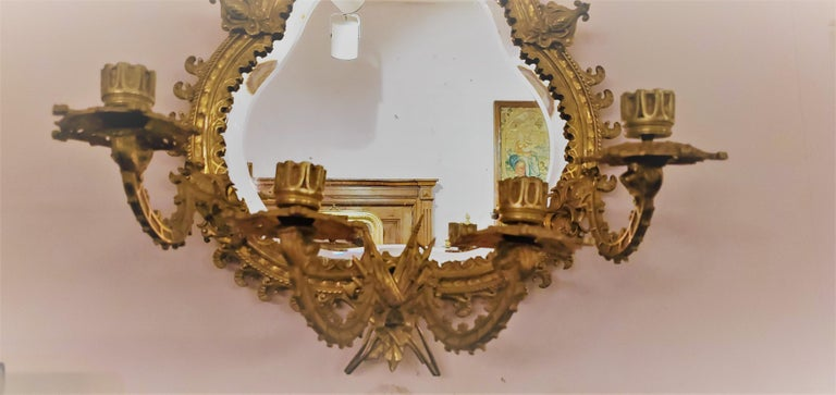 Pair of Antique French Bronze Mirrored Wall Sconces For Sale 1