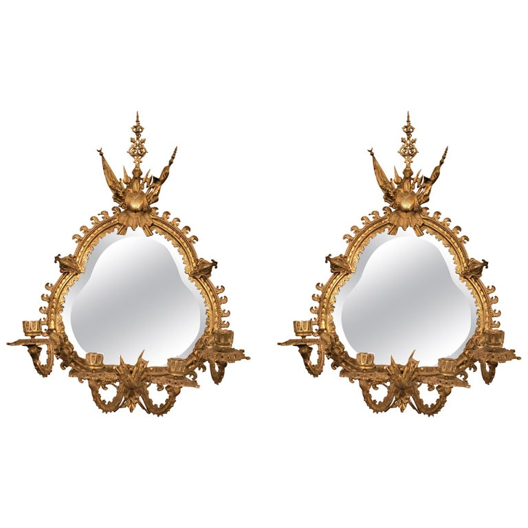 Pair of Antique French Bronze Mirrored Wall Sconces For Sale