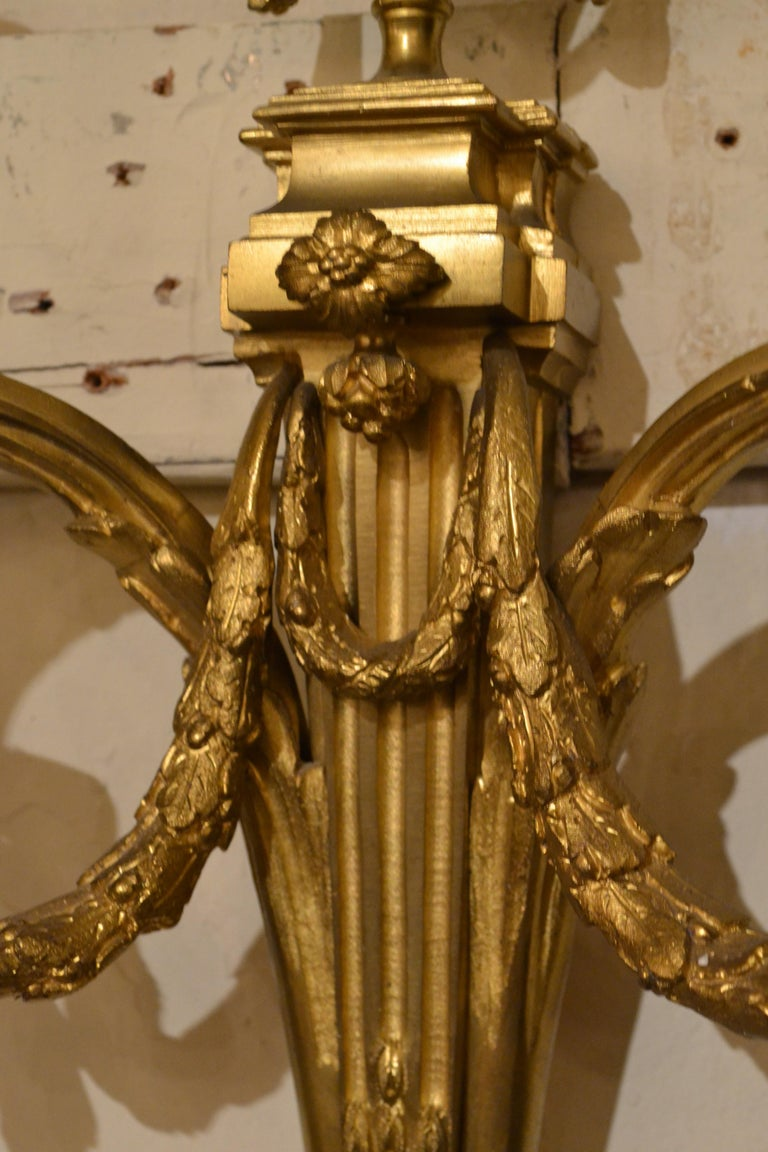Pair of antique French bronze sconces.