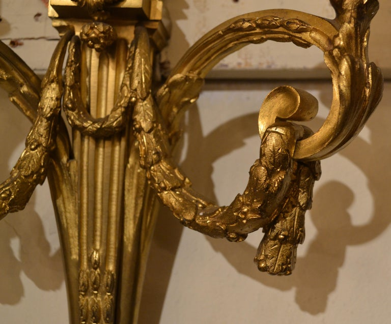 Pair of Antique French Bronze Sconces In Good Condition For Sale In New Orleans, LA