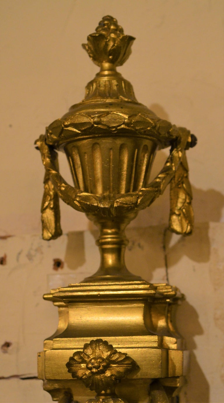 Pair of Antique French Bronze Sconces For Sale 1