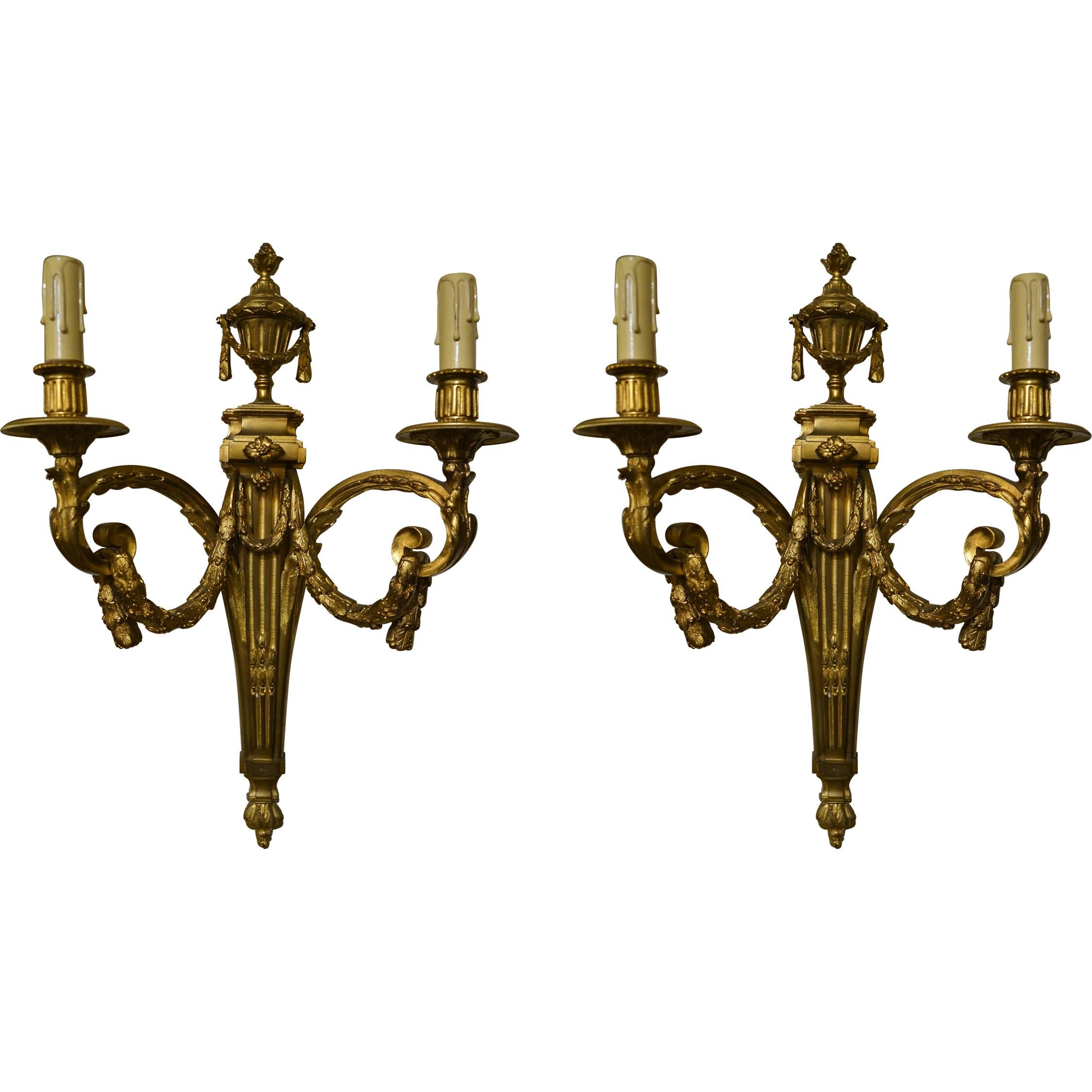 Pair of Antique French Bronze Sconces