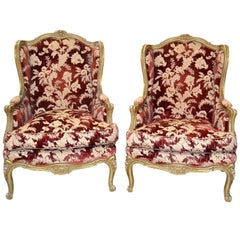 Pair of Antique French Carved and Upholstered Bergeres