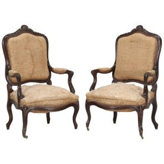 Pair of Antique French Carved Parlor or Living Room Armchairs