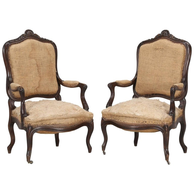 Pair of Antique French Carved Parlor or Living Room ...