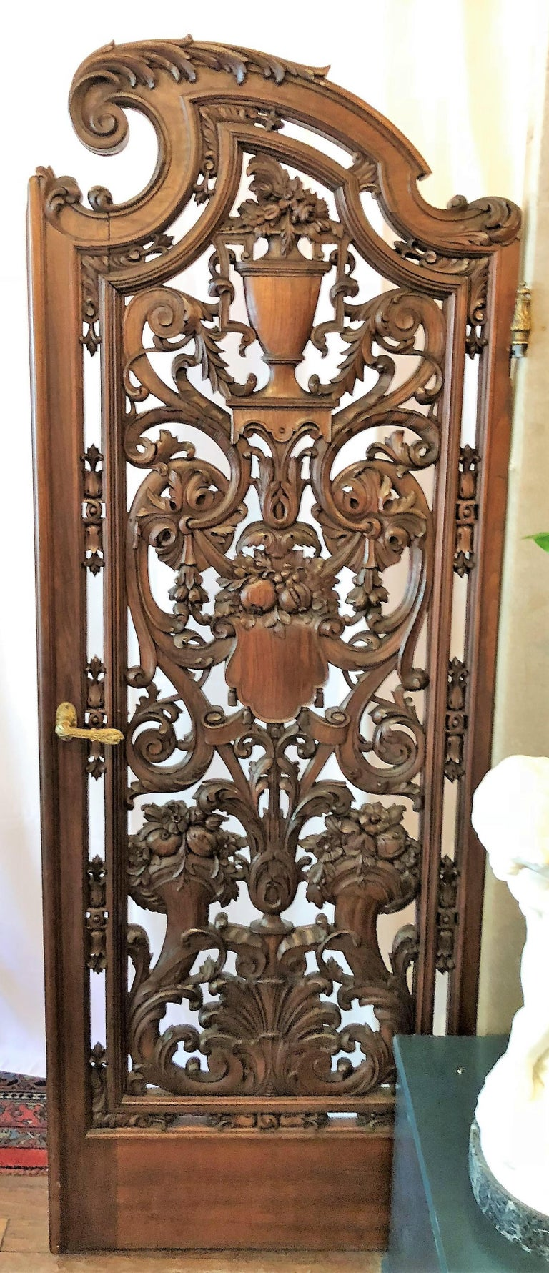 Louis XV Pair of Antique French Carved Walnut Doors For Sale