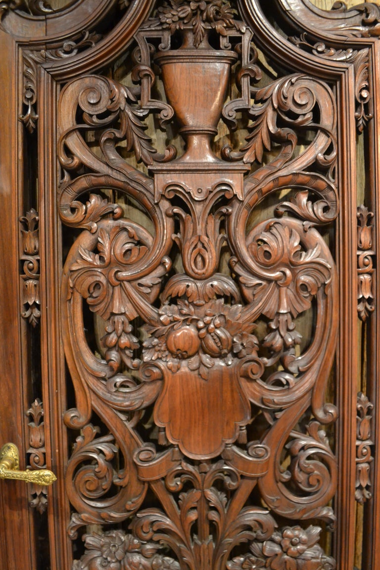 19th Century Pair of Antique French Carved Walnut Doors For Sale