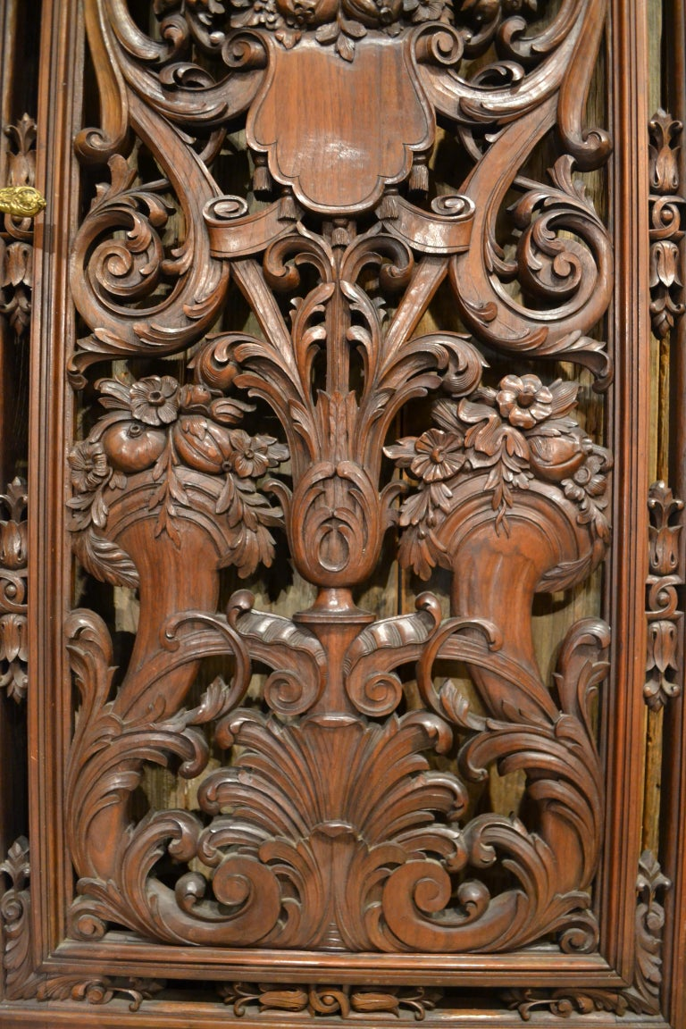Pair of Antique French Carved Walnut Doors For Sale 1
