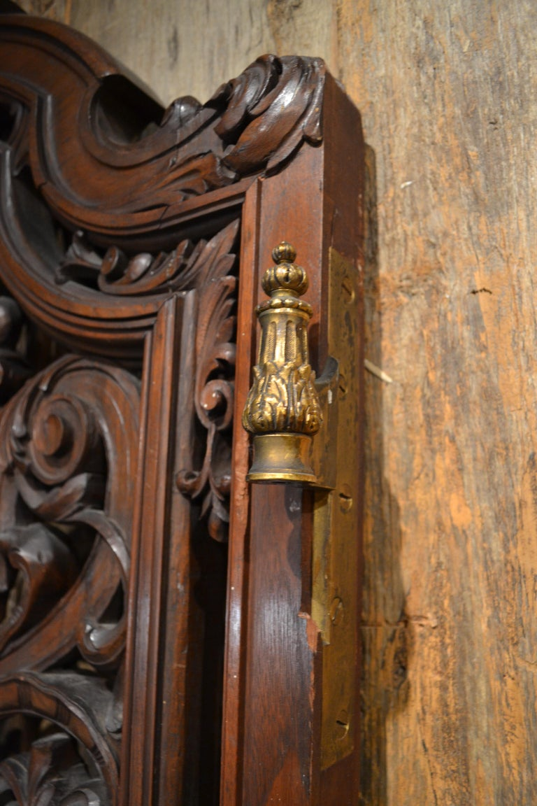 Pair of Antique French Carved Walnut Doors For Sale 4