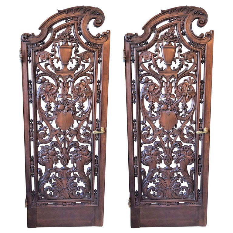 Pair of Antique French Carved Walnut Doors For Sale
