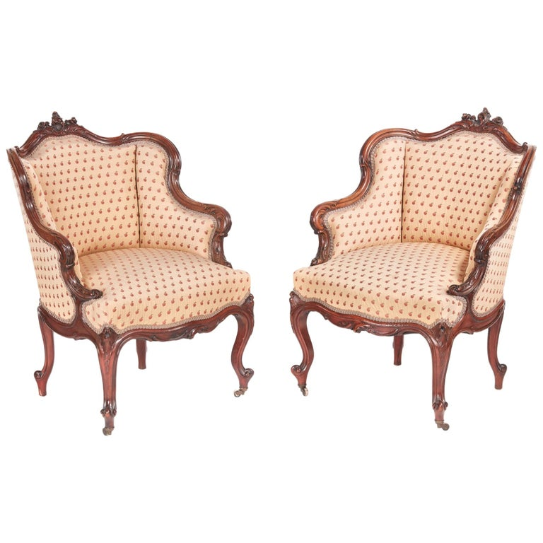Pair of Antique French Carved Walnut Library Chairs For Sale