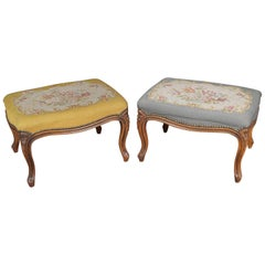 Pair of Antique French Carved Walnut & Needlepoint Tapestry Foot Stools