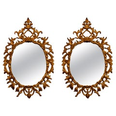 Pair of Antique French Carved Wood Gold Mirrors, circa 1900-1910