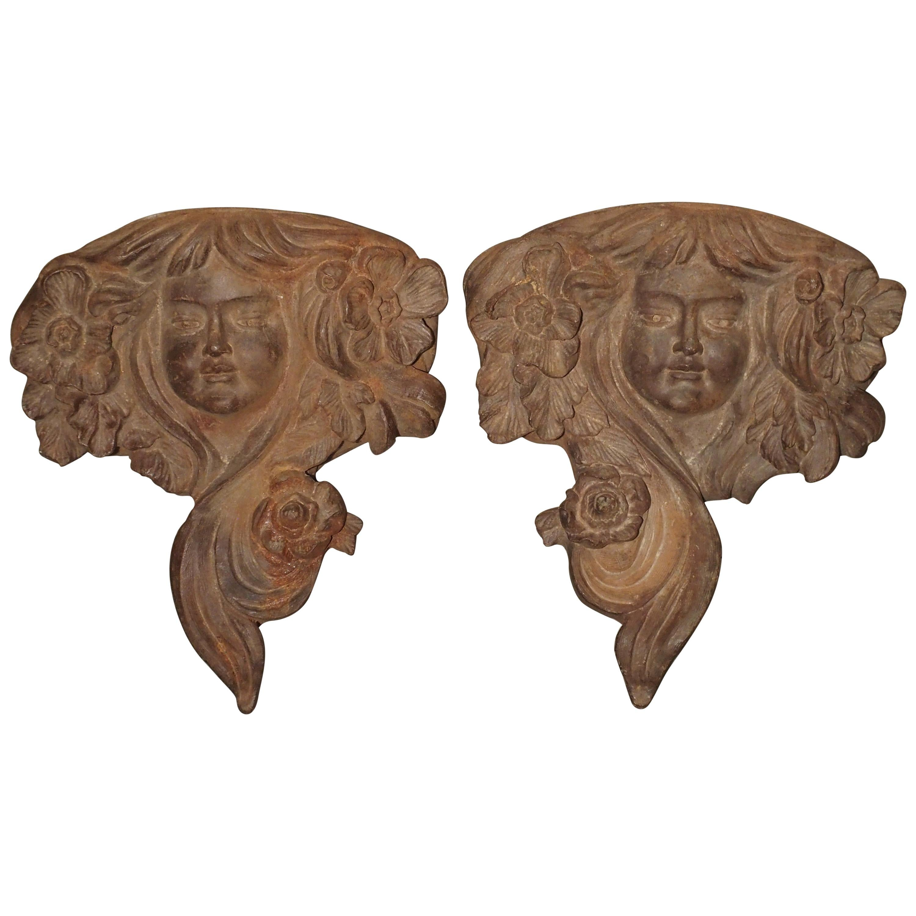 Pair of Antique French Cast Iron Balcony Planters/Ornaments, circa 1900