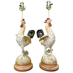 Pair of Antique French Cast Iron Rooster Lamps