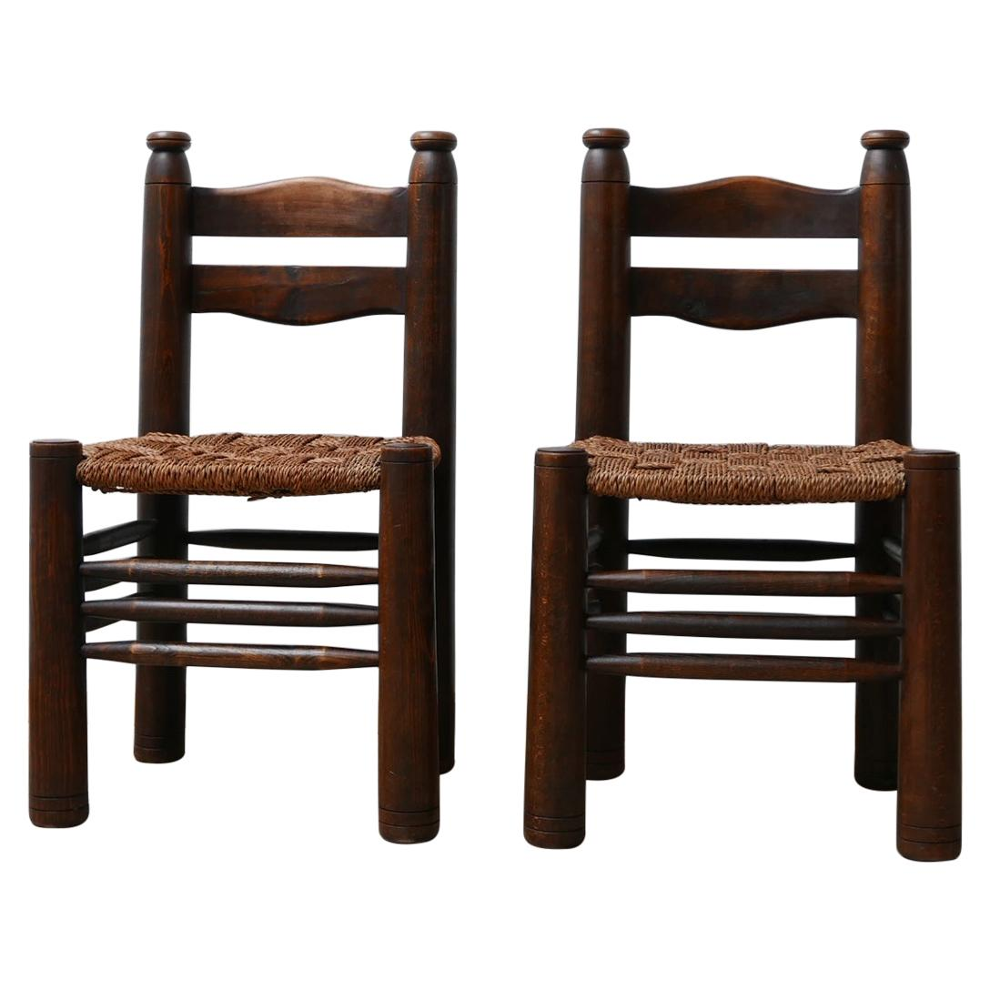 Pair of Antique French Charles Dudouyt Occasional Chairs